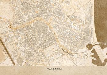 Mapa Gray vintage map of Valencia
