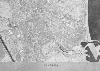 Kaart Gray vintage map of Valencia