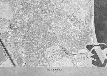 Stadtkarte Gray vintage map of Valencia