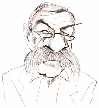 Günter Grass, German novelist, poet, playwright and artist; caricature Kunstdruck