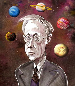 Gustav Holst, British composer , version of file image with added planets, 2006 by Neale Osborne Kunsttryk