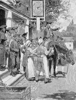 He Stops at the Sign of the Weathervane, illustration from 'Tilighman's Ride from Yorktown', pub. in Harper's Magazine, November 1881 Kunstdruk