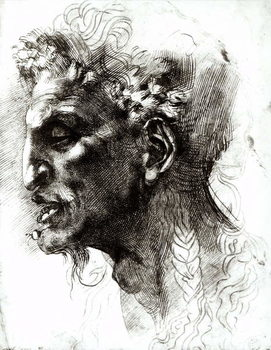Head of a Satyr (pen & ink on paper) Kunstdruck