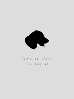 Ilustración home is where the dog is