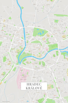 Mapa de Hradec Kralove color