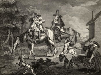 Hudibras Sallies Forth, from 'Hudibras' by Samuel Butler (1612-80) engraved by C. Armstrong, from 'The Works of William Hogarth', published 1833 Kunstdruk