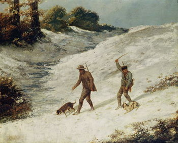 Hunters in the Snow or The Poachers Kunsttryk