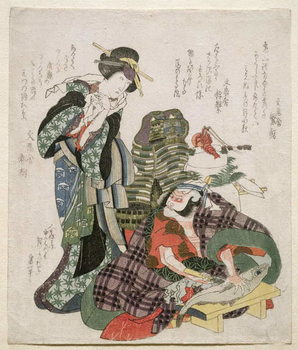 Ichikawa Danjuro and Ichikawa Monnosuke as Jagekiyo and Iwai Kumesaburo, 1824 Reproduction de Tableau