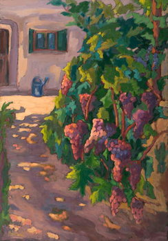 In the Vineyard,  oil on board Kunstdruck