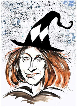 J K Rowling - caricature as a witch Kunstdruck