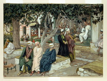 Jesus in a meeting with St. Matthew, illustration for 'The Life of Christ', c.1886-96 Kunsttryk