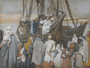 Jesus Preaches in a Ship, illustration from 'The Life of Our Lord Jesus Christ' Kunsttryk