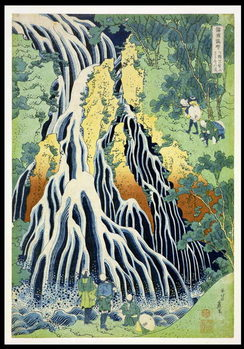 Kirifura Fall in Kurokawa Mountain', from the series 'A Journey to the Waterfalls of All the Provinces' ('Shokoku taki meguri') pub.by Nishimura Eijudo, c.1832 Reproduction de Tableau