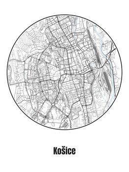 Kaart van Košice