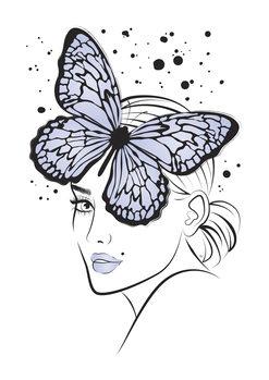 Illustration Lady Butterfly Blue
