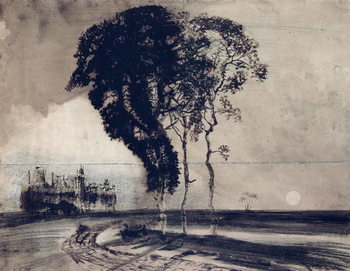 Landscape with Three Trees, 1850 Reproduction de Tableau