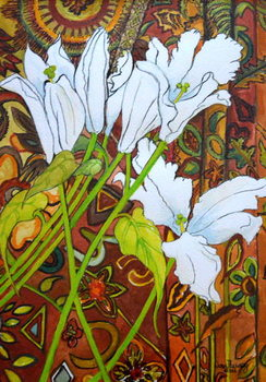 Lilies against a Patterned Fabric, Kunstdruck