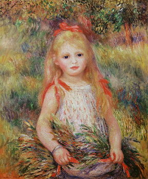 Little Girl Carrying Flowers, or The Little Gleaner, 1888 Kunsttryk