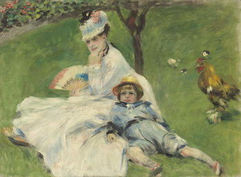 Madame Monet and Her Son, 1874 Kunstdruk