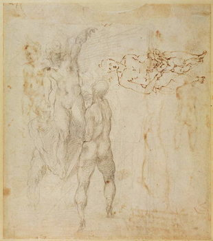 Reproducción de arte Male group and seated figure with child