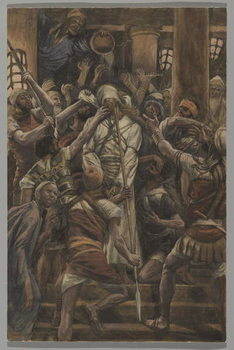 Maltreatments in the House of Caiaphas, illustration from 'The Life of Our Lord Jesus Christ', 1886-94 Reproduction de Tableau