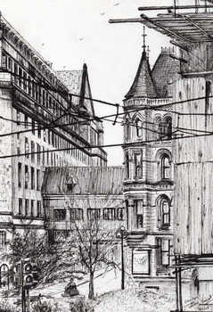 Manchester town hall from City Art Gallery, 2007, Kunstdruk