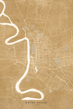 Illustration Map of Baton Rouge, LA, in sepia vintage style