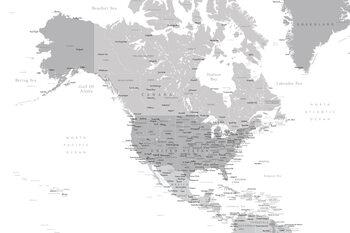 Ilustración Map of North America in grayscale