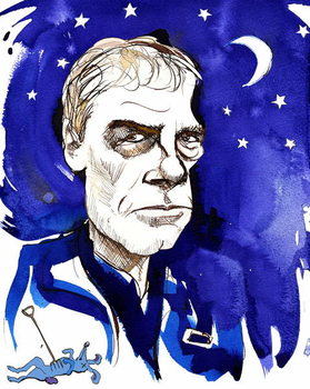 Mark Haddon, English novelist; caricatured with reference to his 2003 novel 'The Curious Incident of the Dog in the Night-Time' Kunstdruck