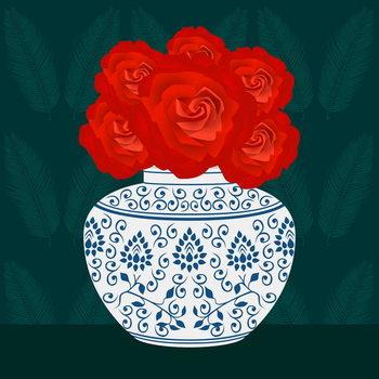 Ming vase with Roses Obrazová reprodukcia