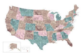 Mapa Muted watercolor map of the US with state capitals