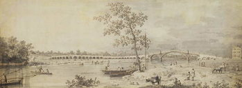 Old Walton Bridge seen from the Middlesex Shore, 1755 Reproduction de Tableau