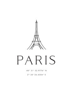 Ilustración Paris coordinates with Eiffel Tower