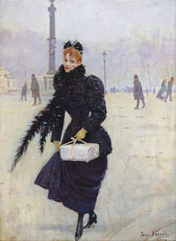 Parisian woman in the Place de la Concorde, c.1890 Kunsttryk
