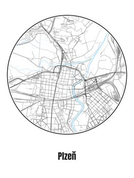 Stadtkarte von Plzeň