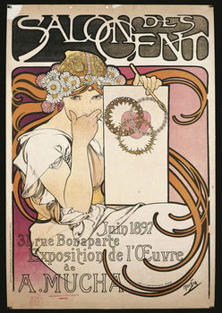 Reproducción de arte Poster advertising the exhibition of A. Mucha at the Salon des Cent, 1897