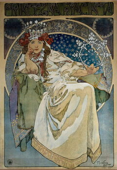 "Poster by Alphonse Mucha (1860-1939) for the creation of the Ballet ""Princess Hyacinthe"""" by Oskar Nedbal  at the National Theatre of Prague and representing actress Andula Sedlackova Obrazová reprodukcia"