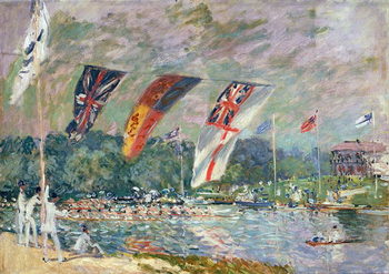 Regatta at Molesey, 1874 (oil on canvas) Kunsttryk