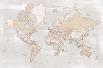 Illustration Rustic detailed world map with cities, Lucille