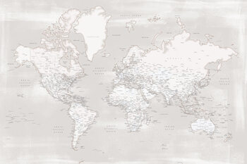 Stadtkarte Rustic distressed detailed world map in warm neutrals