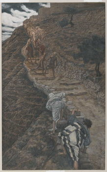 Saint Peter and Saint John Follow from Afar, illustration from 'The Life of Our Lord Jesus Christ', 1886-94 Reproduction de Tableau