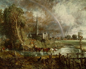 Salisbury Cathedral From the Meadows, 1831 (oil on canvas) Kunsttryk