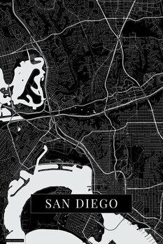 Stadtkarte San Diego black
