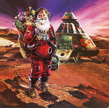 Santa Claus on Mars, as depicted in 1976 Kunsttryk