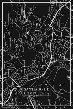 Carte de Santiago de Compostela black