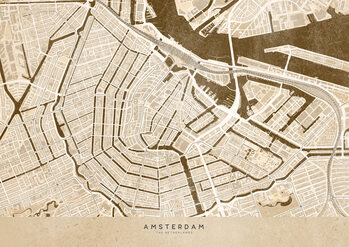 Kaart Sepia vintage map of Amsterdam