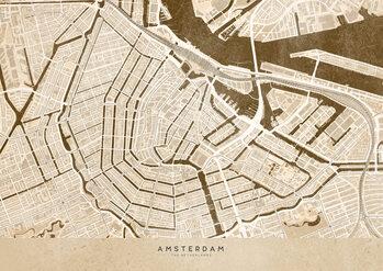 Mapa Sepia vintage map of Amsterdam