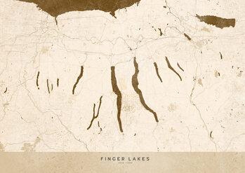 Mapa Sepia vintage map of Finger Lakes
