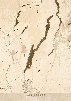 Mapa Sepia vintage map of Lake George