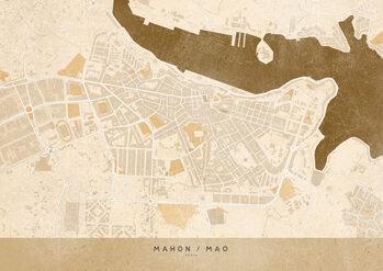 Mapa Sepia vintage map of Mahon